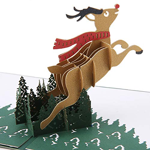 3D Christmas Pop Up Card and Envelope - Unique Pop Up Greeting Cards for Birthday, Christmas, New Year, Anniversary, Valentine, Wedding, Graduation, Thank You. Christmas deer (Greeting Words For Christmas & New Year)