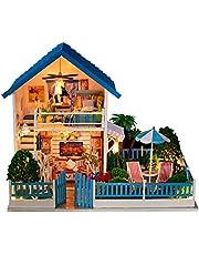 Het bouwen van speelgoed DIY Cottage 3D Gezellig DIY Houten Miniature Dollhouse Kits met LED-licht creatieve handgemaakte Huismeubilair 2 niveau Bouw Model For Adults Kids educatieve doeleinden Cadeau