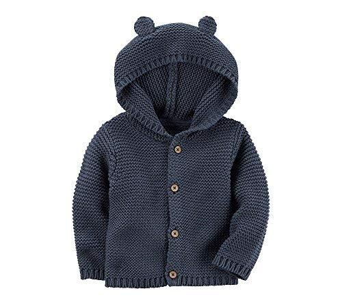 Carters Baby Textured Bear Hoodie Blue 12 Months