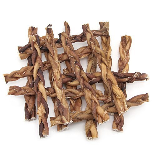 GigaBite 12 Inch Odor-Free Braided Bully Sticks (15 Pack) – USDA & FDA Certified All Natural, Free Range Beef Pizzle Dog Treat – By Best Pet Supplies