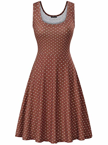 - FENSACE Women's A Line Sleeveless Flare Brown Dress for Women