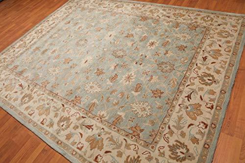 Houston Area Rug - 8'x10' Grey/Aqua Beige Tan, Rust, Multi Color Hand-Tufted Persian Oriental Area Rug 100% Wool Traditional Persian Design Oriental Rug