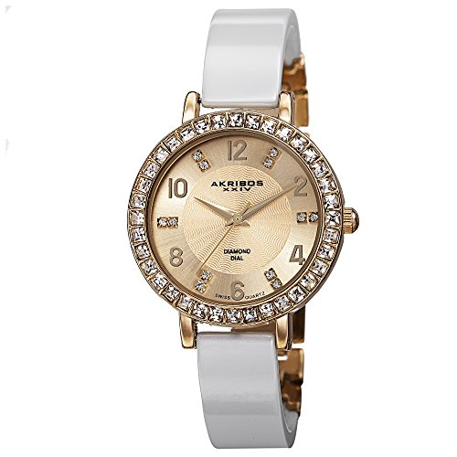 Akribos XXIV Women's Designer Fashion AK758 Ceramic Bangle Watch With Crystal Studded Bezel ()