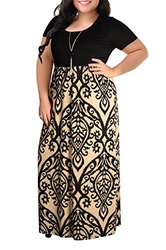 Nemidor Print Brown Dress Short Summer Size Chevron Maxi Light Casual Plus Sleeve Women's EfqArxEw