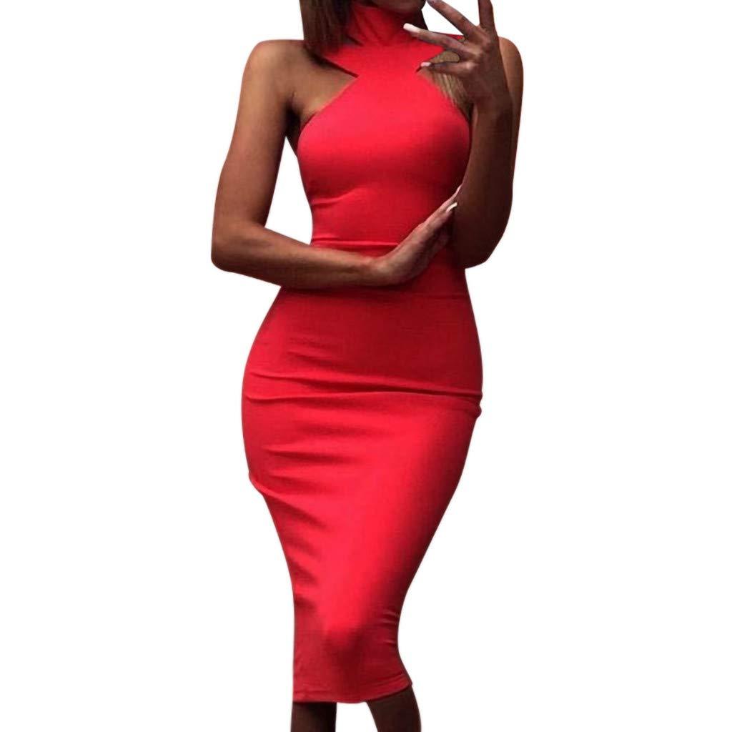 LGHOVRS Femme Robe Longue Chic Robes Moulante sans Manches /à Col en V pour Dames