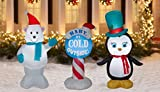 Inflatable Outdoor Christmas Decorations. Set of 3 Christmas Inflatables includes Penguin, Polar Bear and Baby Its Cold Outside Sign