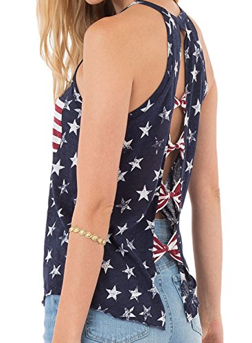 Women's Sexy Round Neck Sleeveless Tank Tops American Flag Top Back Cross Bows Blouse Shirt, S