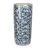 Sagebrook Home VC10369-07 Umbrella Stand, Blue/White Ceramic, 8.25 x 8.25 x 18 Inches