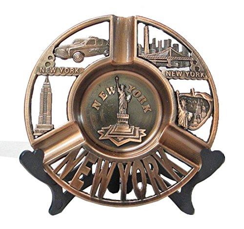New York Souvenir Metal Ashtray Plate with Statue of Liberty Manhattan Empire State Building Brooklyn Bridge