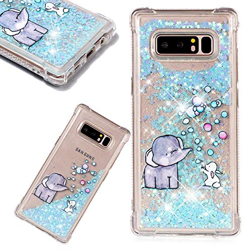 3D Creative Painted Bubble Elephant Pattern Design Luxury Stars Flowing Liquid Quicksand Moving Case for Samsung Galaxy Note 8,SKYXD Brilliant Glitter Floating Transparent Soft TPU ()