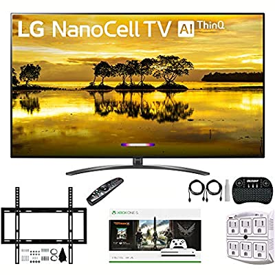 "LG 86SM9070PUA 86"" 4K HDR Smart LED NanoCell TV w/AI ThinQ (2019) + Xbox One S 1TB Console + Compatible Deco Mount Flat Wall Mount Kit + Deco Gear Wireless Keyboard w/Touchpad + Stanley Surge Adapter"