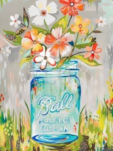 YLOT Mason Jar by Katie Daisy Front Door Mat 15.7