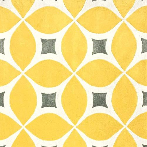 1 Piece Eclectic Mid-Century Modern 3x5 Rug for Living Room, Cabin Lodge Floral Design Trellis Geometric Rug Yellow Contemporary Scandinavian Braedstrup Handmade Abstract Rug Botanical Plush Boho Rug ()