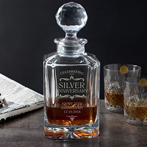 The Gift Experience Personalised Silver Anniversary Square Crystal Decanter