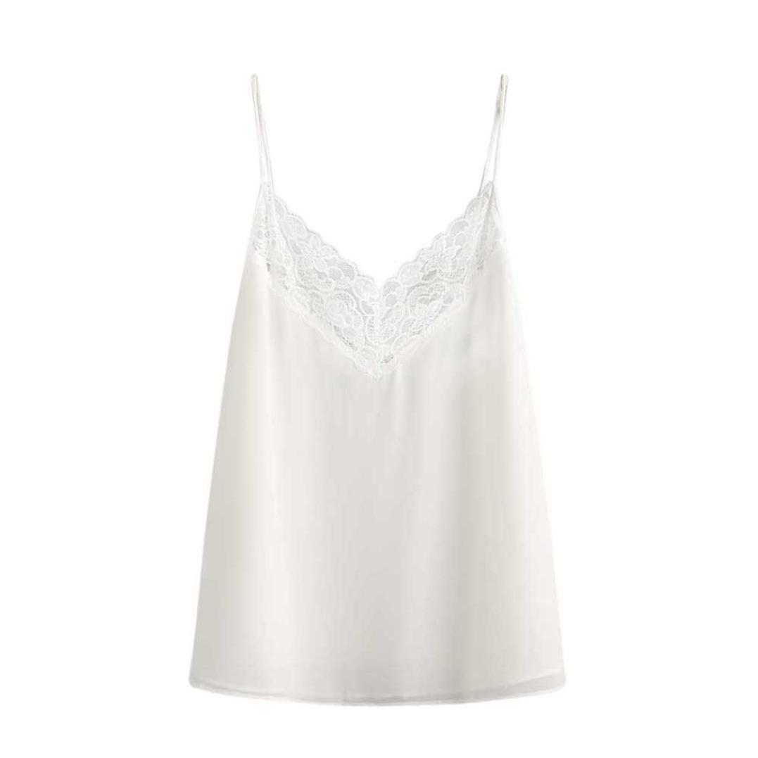 HARRYSTORE Women Sleeveless Chiffon Crop Top Vest Tank Shirt Lace White Cami Top