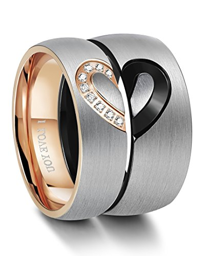 FIBO STEEL Stainless Steel His & Hers Real Love Heart Wedding Rings for Women Men Engagement Rings CZ Inlaid,Size - Meaning Size Os