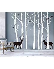 BDECOLL Set van 7 muurstickers berken wit muurstickers boom kinderkamer grote boom muur stickers voor woonkamer