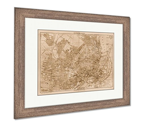 Ashley Framed Prints Vintage Map of Copenhagen at The End of 19th Century, Wall Art Home Decoration, Sepia, 26x30 (Frame Size), Rustic Barn Wood Frame, AG2081949