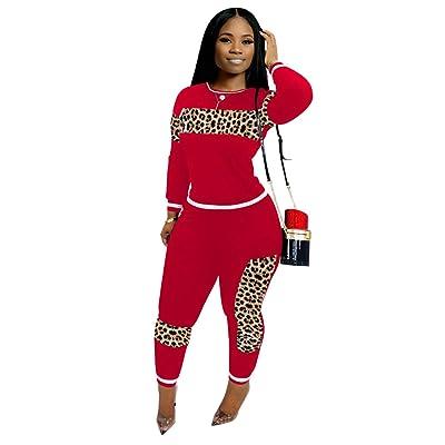 ECHOINE Women Casual 2 Piece Outfit - Leopard Print Tracksuits Joggers Pants Set Pullover Jumpsuits Suits S XXXL at Women's Clothing store