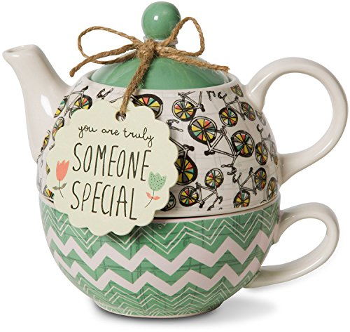 (Pavilion Gift Company 74072 Bloom Someone Special Ceramic Tea for One, 15 oz, Multicolor)