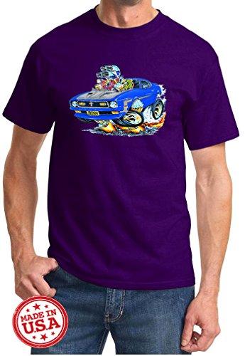 Maddmax Car Art 1971 Ford Boss 351 Mustang Cartoon Muscle Car Design Tshirt XL Purple