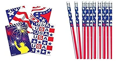 amazon com 12 patriotic notepads and stars and stripes pencils