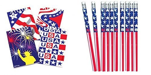 12 Patriotic Notepads and Stars and Stripes Pencils/Patriotic Stationery/Party Supplies/Student Incentives U.S. Toys