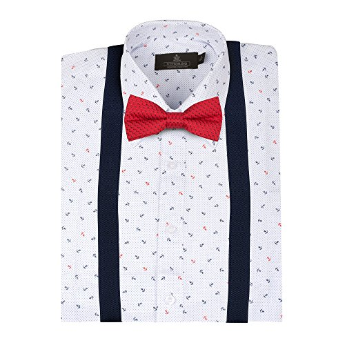 Vittorino Boys' Dress Shirt with Matching Bowtie and Suspenders Set, Anchor, 10/12