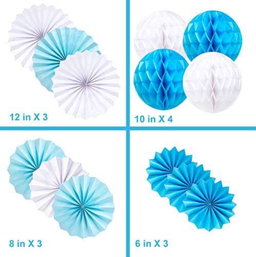 Premium baby shower decorations for boy Kit   It's a boy baby shower decorations with striped tablecloth, 2 banners, paper fans, and honeycomb balls   complete baby shower set for a beautiful baby boy by TeeMoo (Image #3)