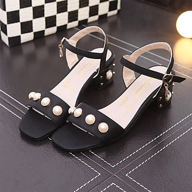 YFF Donna Sandali Primavera Estate Club PU Scarpe Abbigliamento Sportivo Chunky Heel imitazione perla fibbia,Black,US8 / EU39 / UK6 / CN39