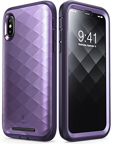 (iPhone XS Case, iPhone X Case, Clayco [Hera Series] Full-body Rugged Case with Built-in Screen Protector for Apple iPhone XS 2018/iPhone X 2017 Release (Purple))