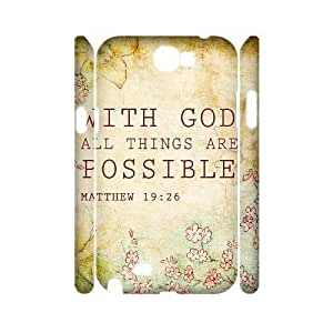 Bible Verse DIY 3D Cover Case for Samsung Galaxy Note 2 N7100,personalized phone case ygtg621066