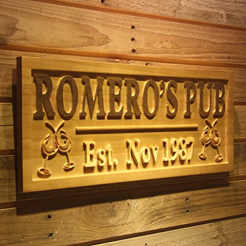 wpa0164 Name Personalized PUB Cheers with Est. Date Wood Engraved Wooden (Cheers Pub Sign)
