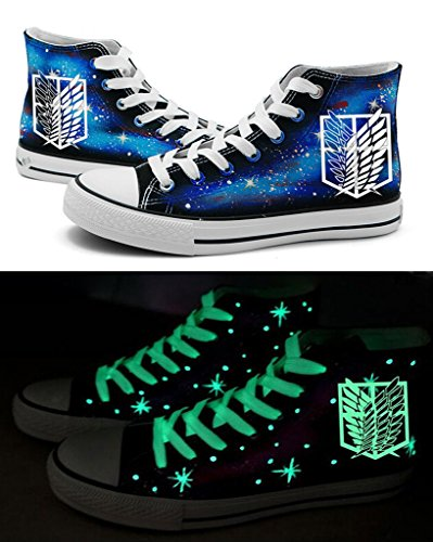Telacos Attack on Titan Shingeki No Kyojin Wings of Freedom Cosplay Shoes Canvas Shoes Sneakers Luminous]()