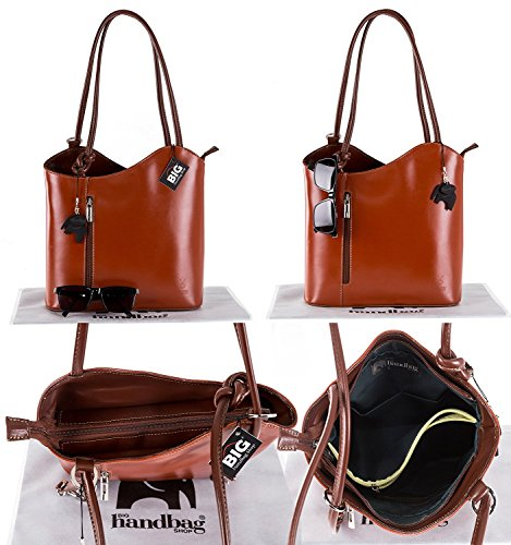 Hand Womens Finish Non Navy Made Brown Trim In Backpack Shoulder Smooth Italy Piping Leather Real Z or Leather BHBS Handbag Made 6gBxdEE