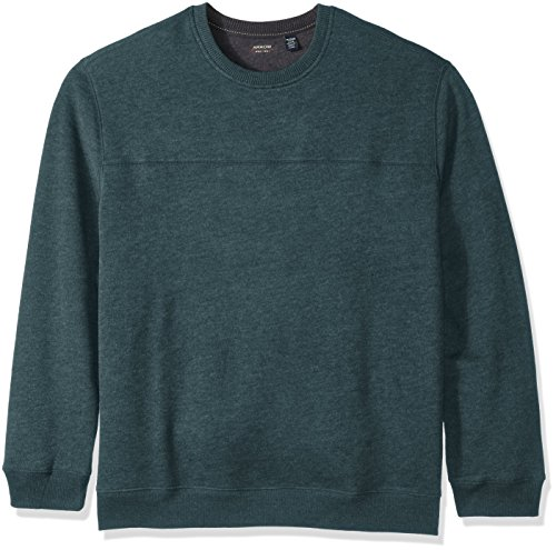 Arrow Men's Big-Tall Long Sleeve Sueded Fleece Crew, Denim Teal Heather, 2X-Large Big