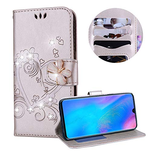Huawei P30 Lite Case,PU Leather Wallet Case for Huawei P30 Lite,Moiky Luxury Gold 3D Butterfly Bling Rhinestone Embossed Love Heart Soft Leather Flip Magnetic Stand Shockproof Case Cover - Gold Inner Lip Embossed
