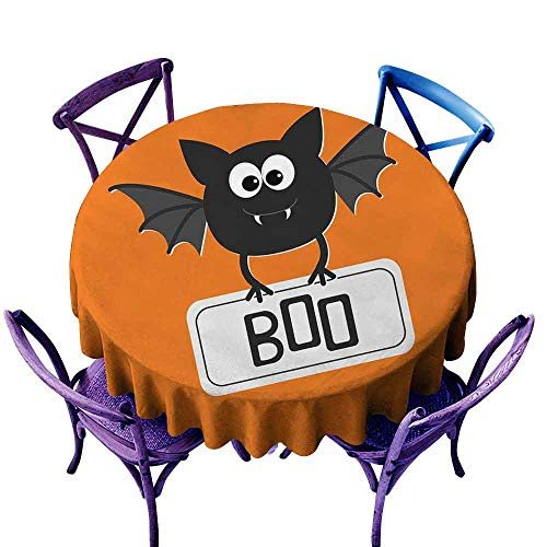 AndyTours Round Solid Polyester Tablecloth,Halloween,Cute Funny Bat with