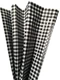 Printed Tissue Paper for Gift Wrapping with Design (White & Black Gingham), 24 Large Sheets (20x30)
