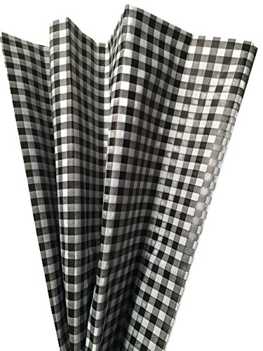 Printed Tissue Paper for Gift Wrapping with Design (White & Black Gingham), 24 Large Sheets (20x30) by Rustic Pearl Collection