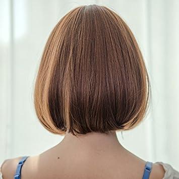 Amazon com : Leather women girls female short hair wig Liu
