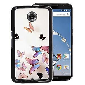 A-type Arte & diseño plástico duro Fundas Cover Cubre Hard Case Cover para NEXUS 6 / X / Moto X Pro (Butterfly Peach Iridescent Pink Nature)