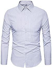 Men's Regular Fit Stripe Button Down Collar Casual Slim Fit Dress Shirt G82