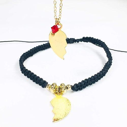 Combo Pulsera macrame Y Collar chapa de oro 22k de corazón partido para Novios Parejas ideal para san valentin dia del amor y la amistad - Tutti Joyer