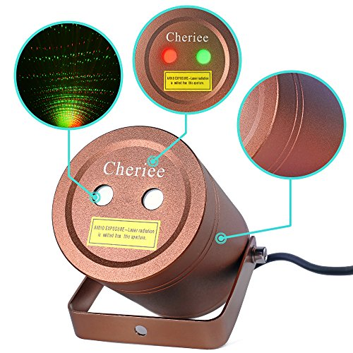 Cheriee Laser Christmas Lights Outdoor Motion Laser Light Projector Waterproof IP65 Decoration Red and Green Aluminum Moving Star Laser Show in Bronze -