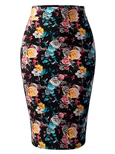 MixMatchy Women's Stretch Office Knee Length Midi Bodycon Flower Print Pencil Skirt Flower Print J098 S