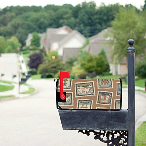 "THKDSC Stamps and Postmarks in Retro Style Mailbox Covers Standard Size Original Magnetic Mail Cover Letter Post Box 21"" Lx 18"" W(only Mailbox Cover)"