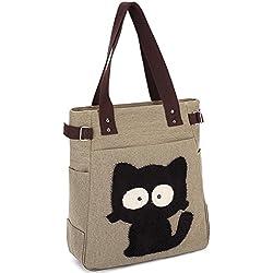 KAUKKO Women's Cat Inspired Shopper Tote And Shoulder Bag