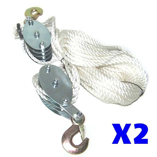 - 2 New 2 Ton Poly Rope Hoist Pulley Wheel Block & Tackle