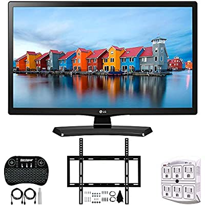 LG 24LH4830-PU - 24-Inch Smart LED TV (2017) + Deco Mount Slim Flat Wall Mount Ultimate Bundle + 2.4GHz Wireless Backlit Keyboard w/Touchpad Mouse + SurgePro 6-Outlet Surge Adapter w/Night Light